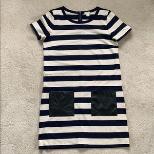 JCrew striped dress leather pockets, worn once!